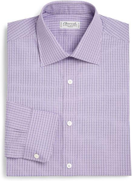 Charvet Plaid Slim Fit Cotton Dress Shirt In Purple For Men