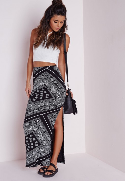 Missguided Bandana Print Side Split Maxi Skirt Black in Black | Lyst