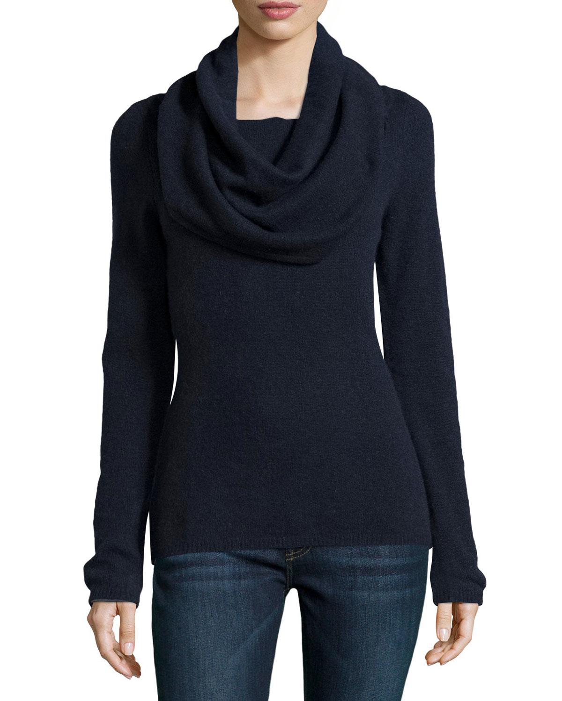 Minnie rose Cashmere Cowl-Neck Sweater in Blue | Lyst