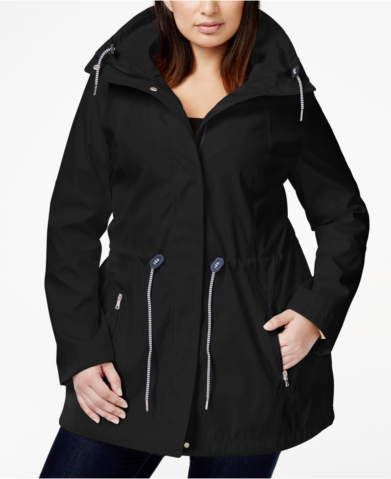 jessica simpson plus size contrast hooded anorak jacket in black