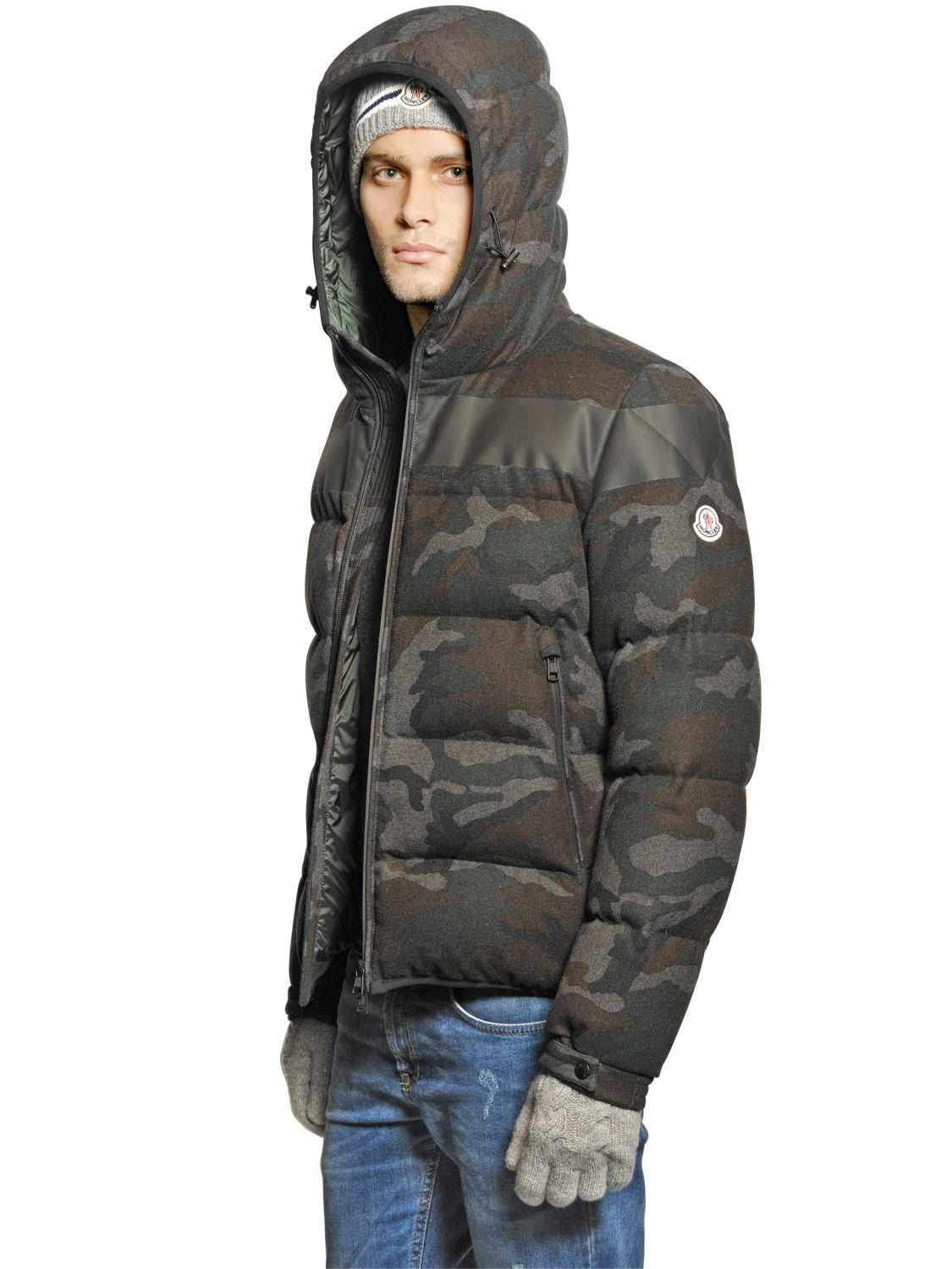 moncler erault wool flannel down jacket in natural for men lyst. Black Bedroom Furniture Sets. Home Design Ideas