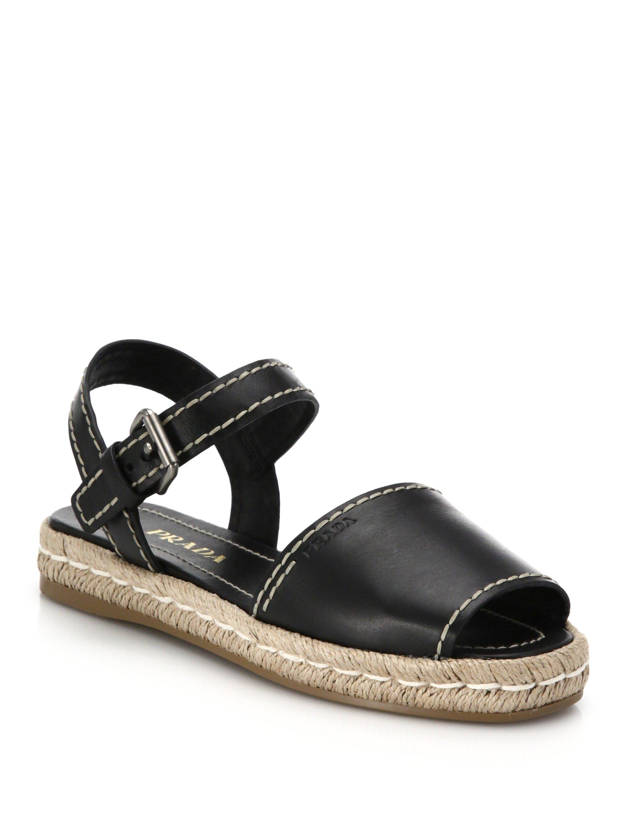 Prada Leather Espadrille Sandals In Black Lyst