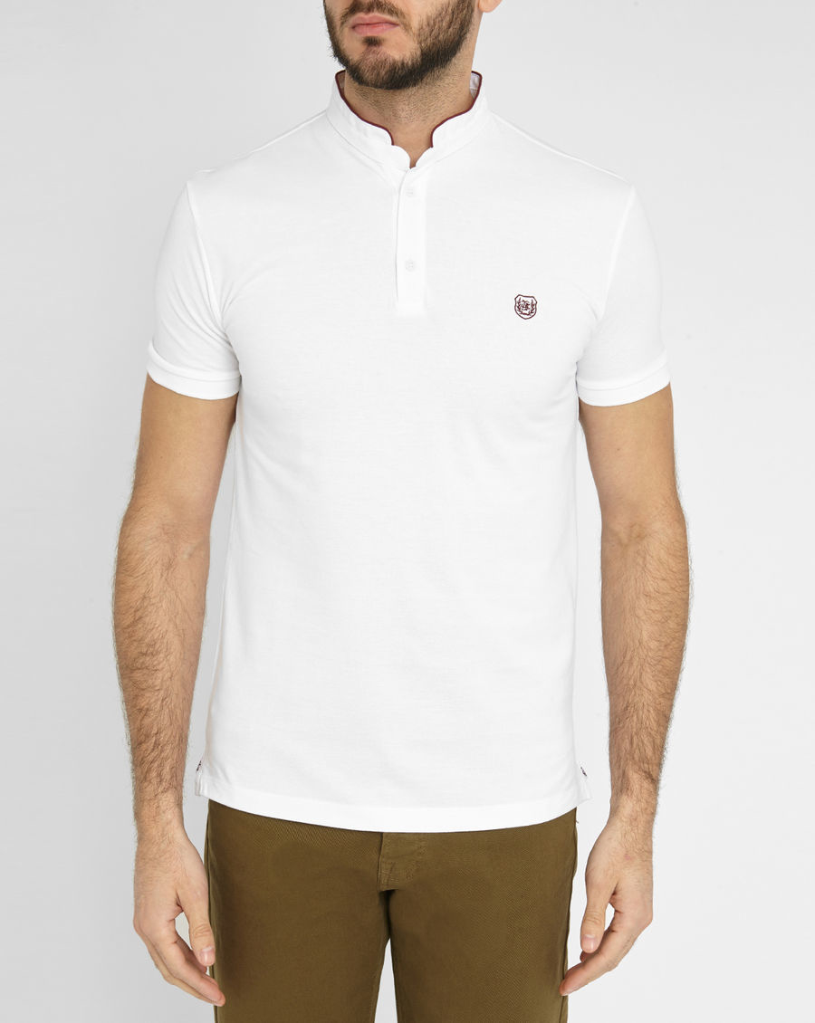 The kooples sport white the kooples jersey standing collar for Polo shirt with sport coat