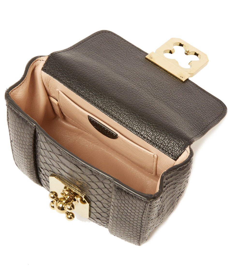 6225e71afe49 Chloé Mini Black Elsie Python Leather Bag in Black