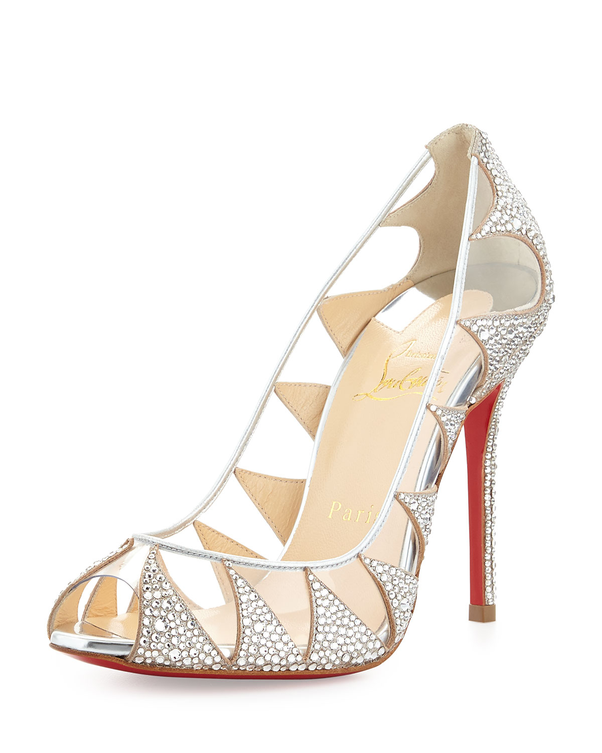 christian louboutin indera crystal peep toe red sole pump silver