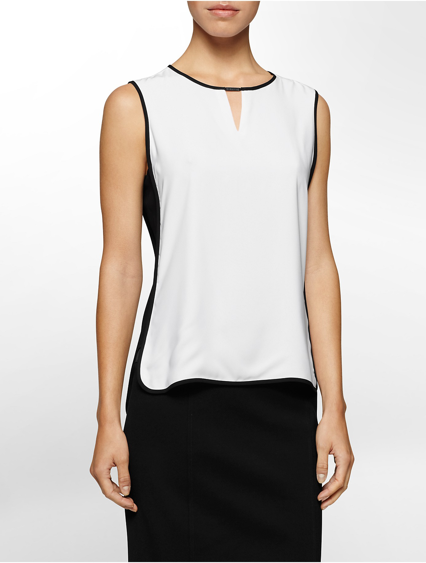 calvin klein colorblock piped high low sleeveless top in white lyst. Black Bedroom Furniture Sets. Home Design Ideas