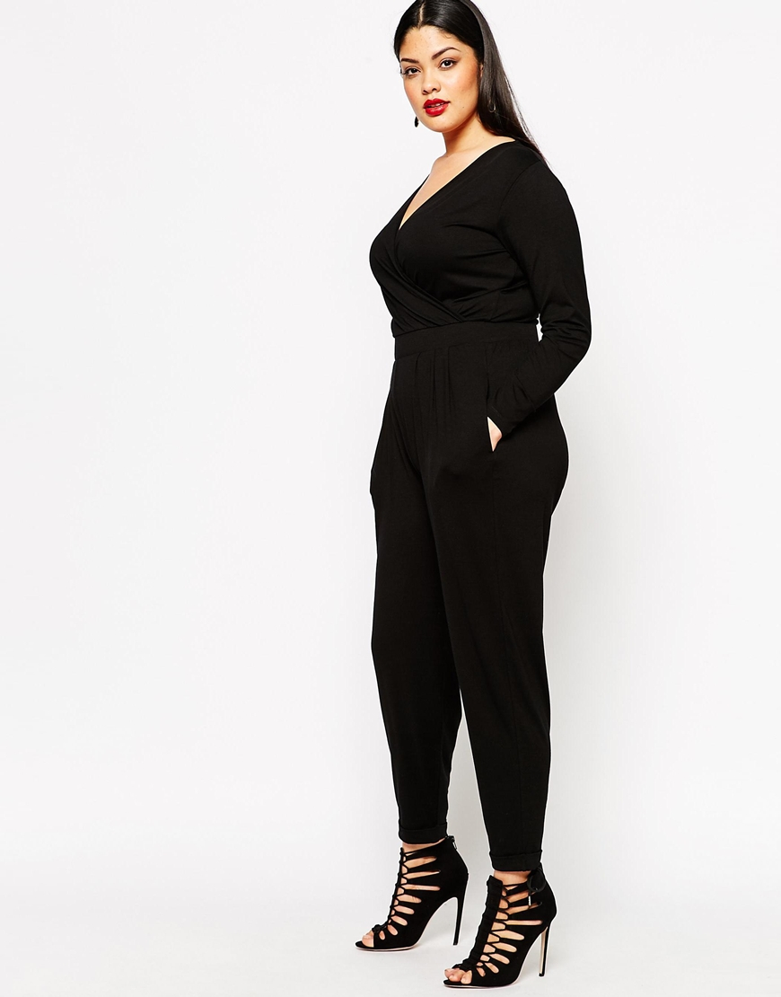Asos Curve Wrap Jumpsuit With Long Sleeves In Black  Lyst-5682