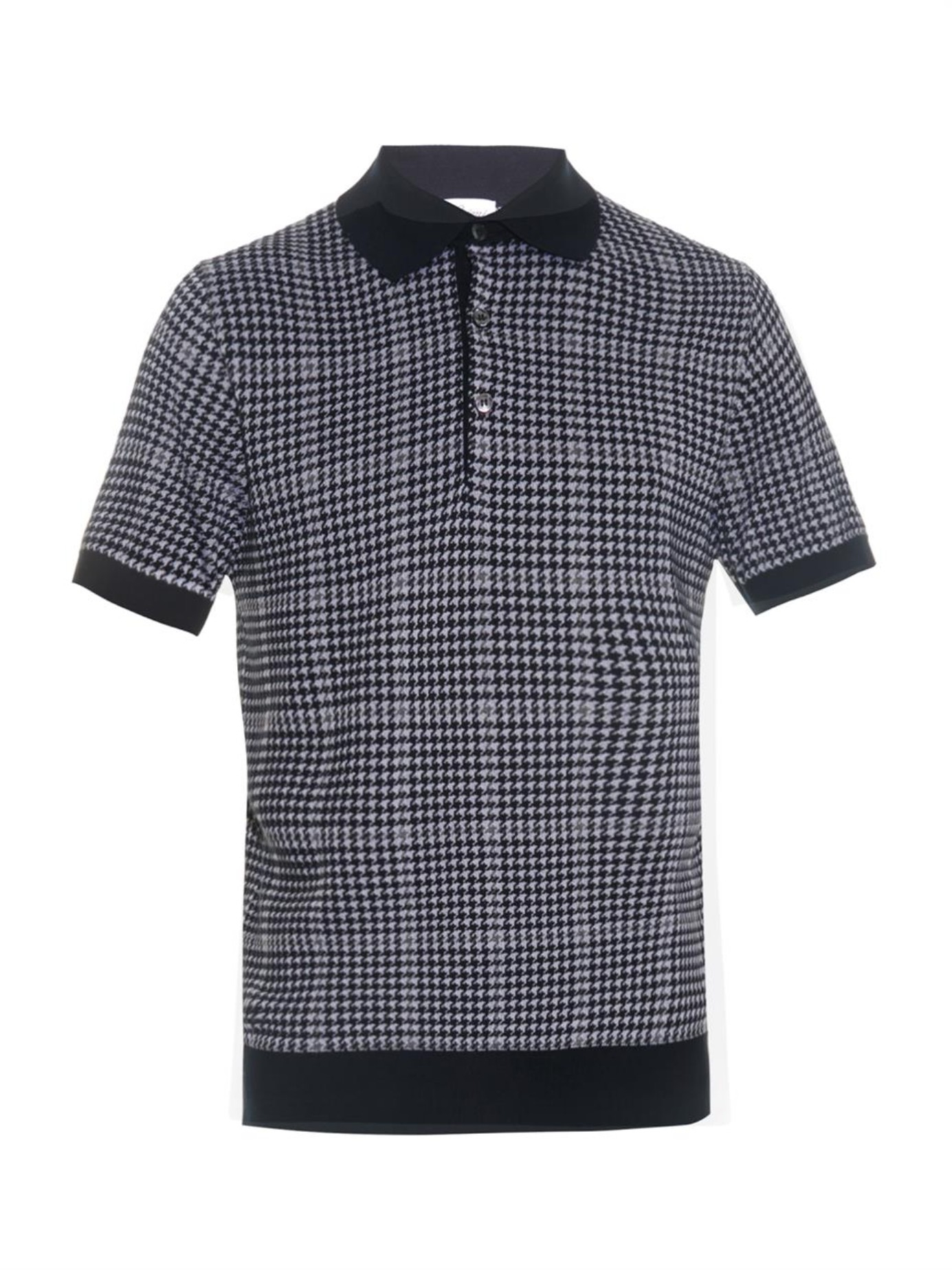 7e3757d1819f Lyst - Brioni Houndstooth Knitted Polo Shirt in Blue for Men