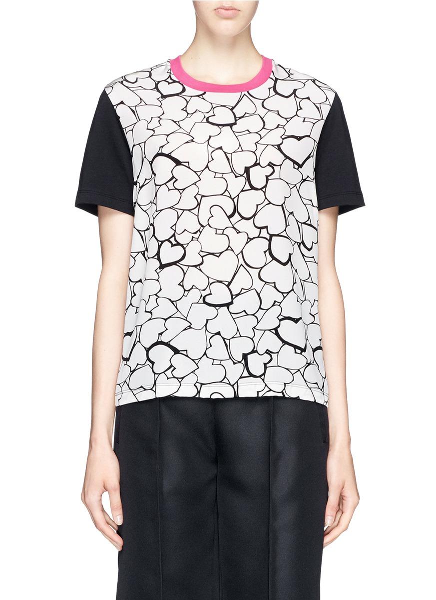 Lyst msgm heart print silk cotton jersey combo t shirt for Cotton silk tee shirts