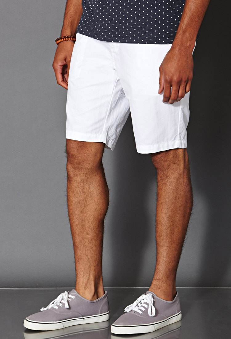 Forever 21 Woven Chino Shorts in White for Men | Lyst