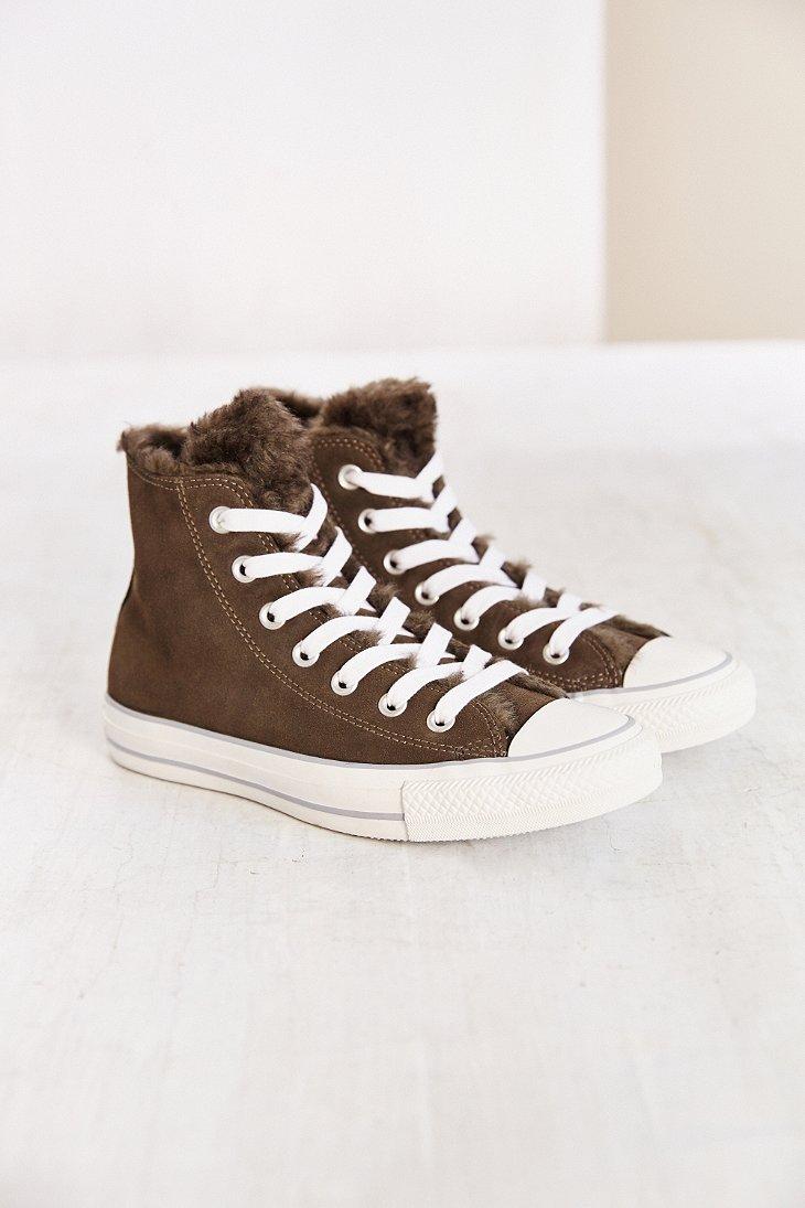 99282decf827ce Lyst - Converse Suede Fur Womens High-top Sneaker in Gray