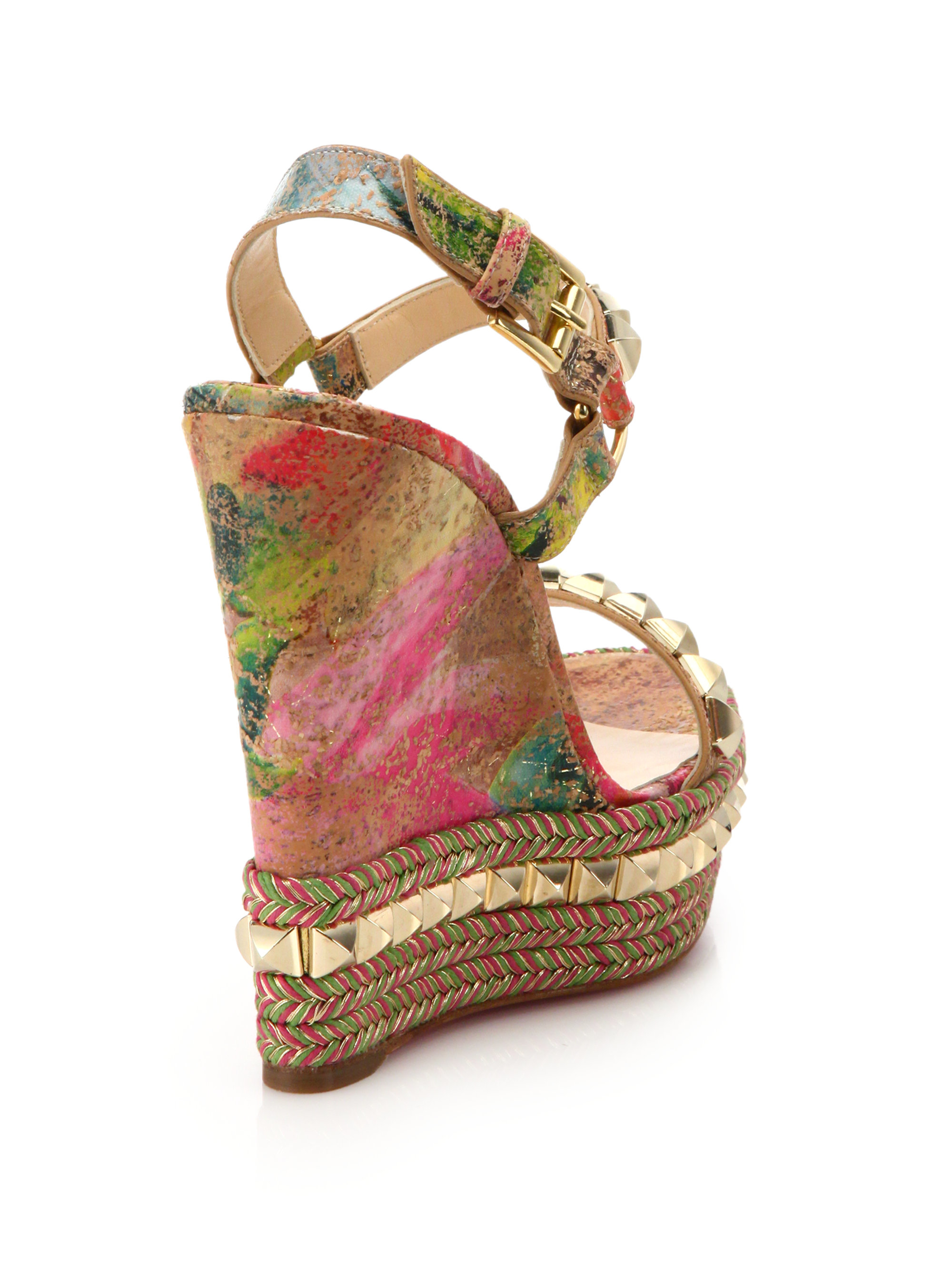 c5c1c669bba1 ... best price lyst christian louboutin pyramid studded cork espadrille  wedge sandals 2721a 8fe00