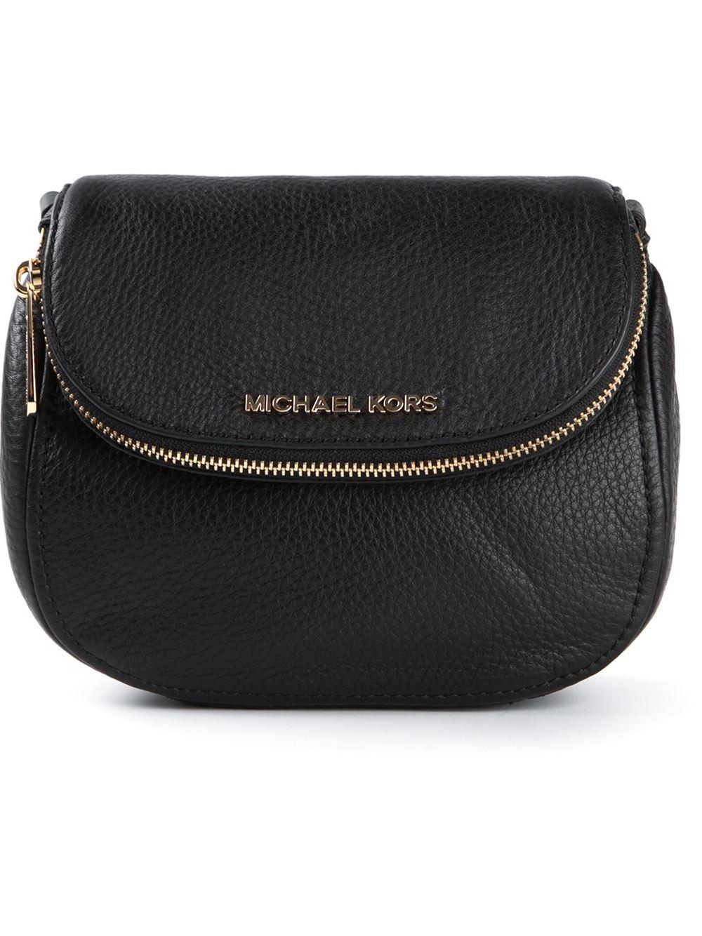 michael michael kors bedford flap crossbody bag in black