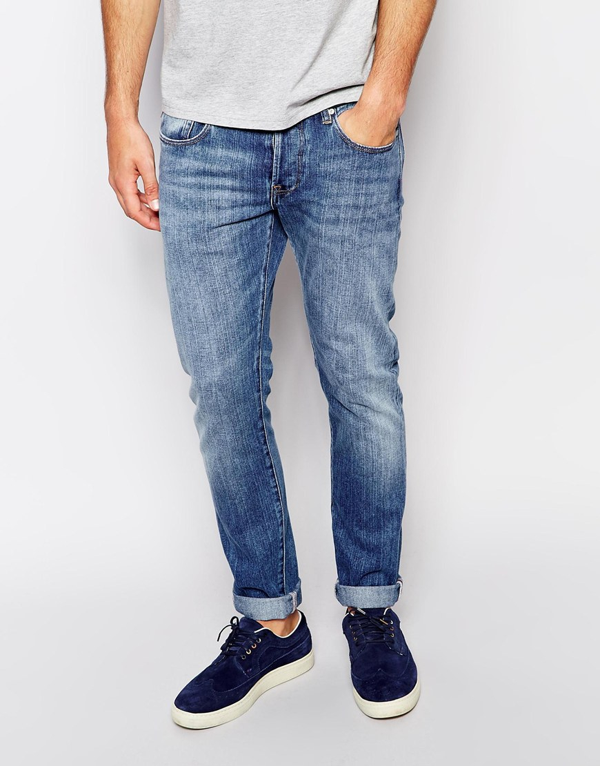 paul smith light wash jeans in tapered fit in blue for men lyst. Black Bedroom Furniture Sets. Home Design Ideas