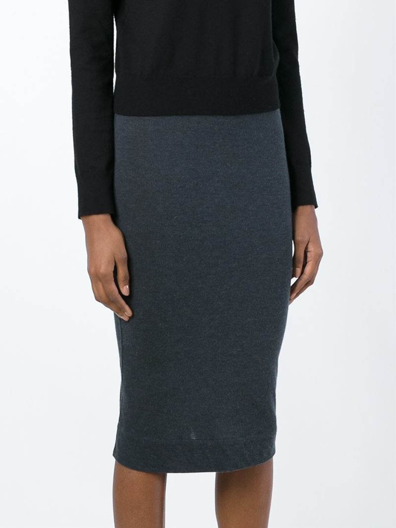rick owens lilies jersey pencil skirt in gray lyst