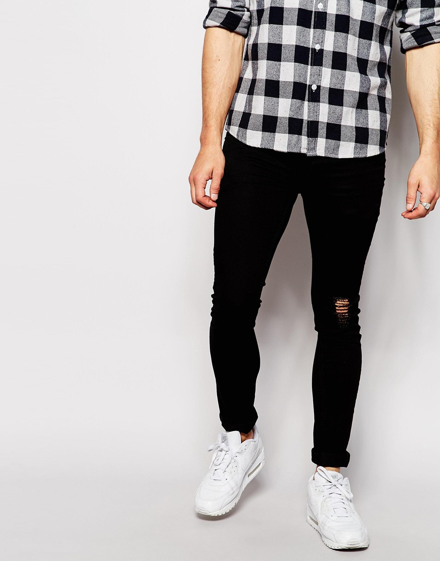 Antioch Super Skinny Jeans With Knee Rip in Black for Men | Lyst