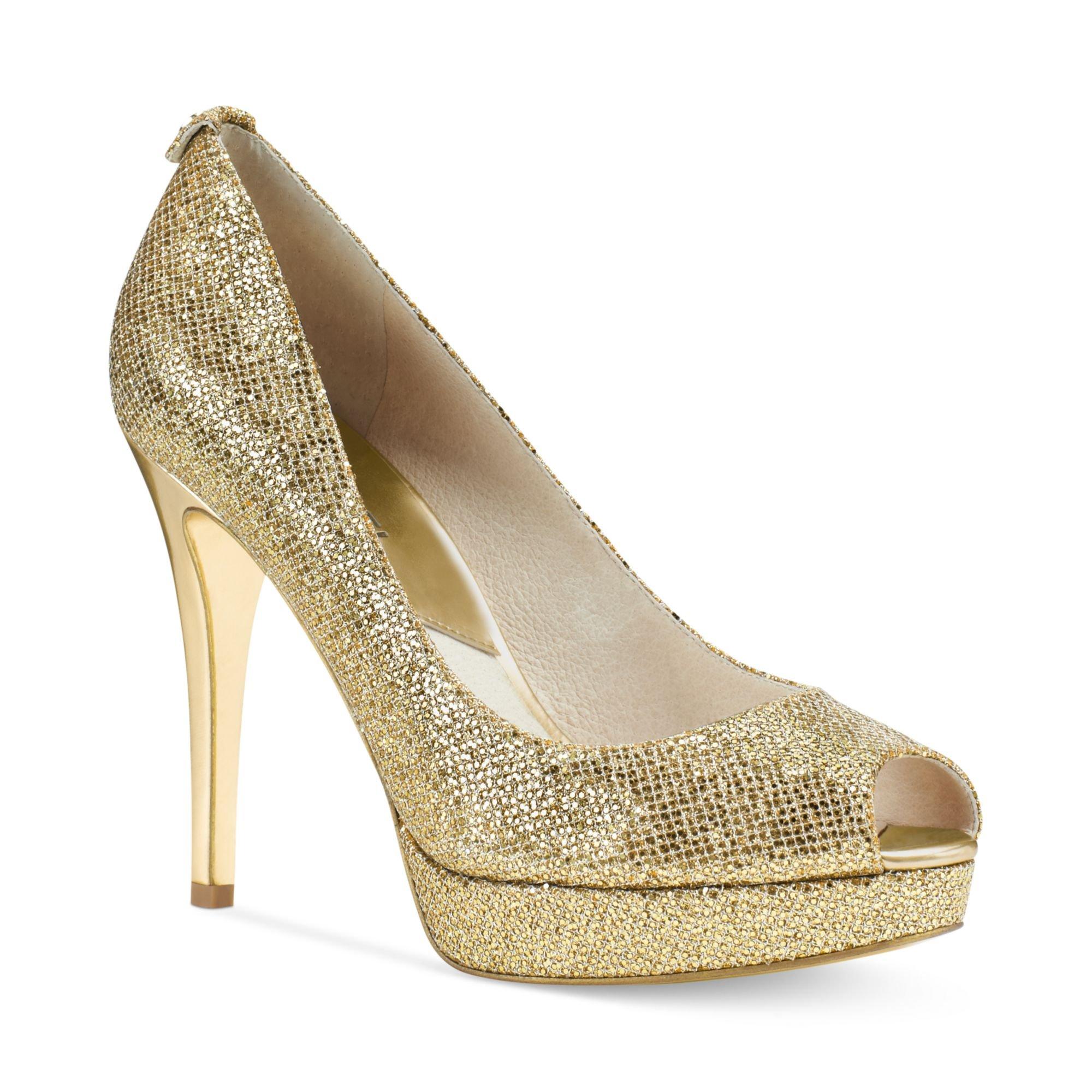 michael kors michael york platform pumps in gold gold glitter lyst. Black Bedroom Furniture Sets. Home Design Ideas