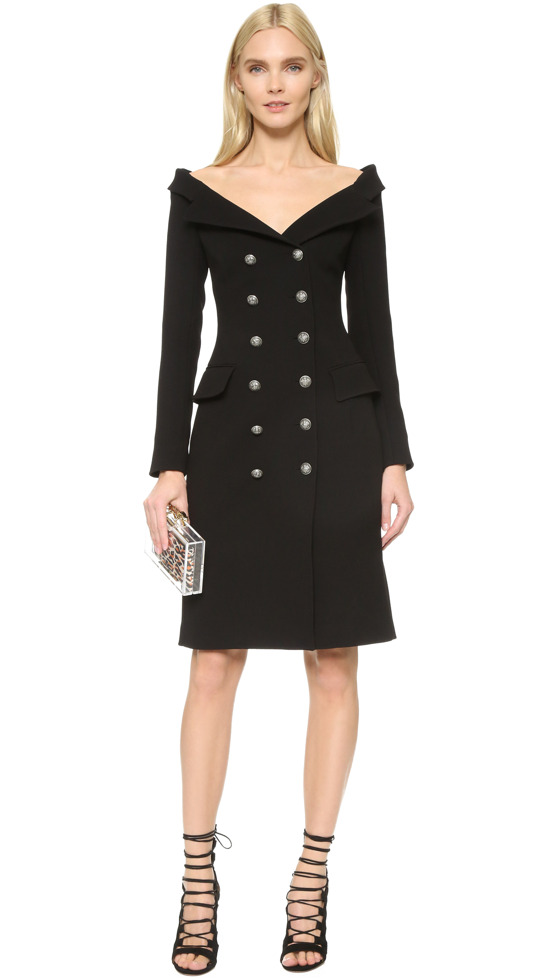 bad07f8f8db4 Faith Connexion Crepe Off Shoulder Blazer Dress in Black - Lyst