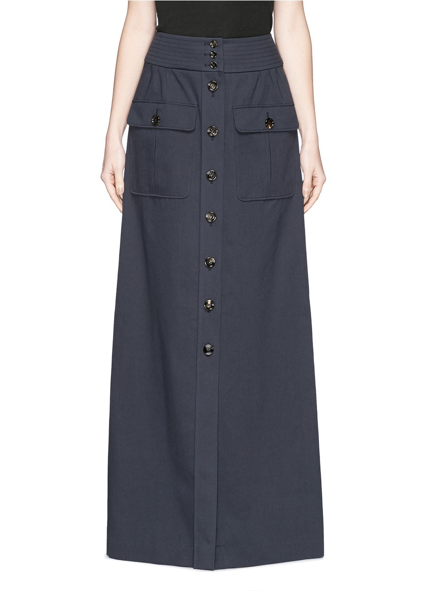 chlo 233 button cotton twill maxi skirt in blue lyst