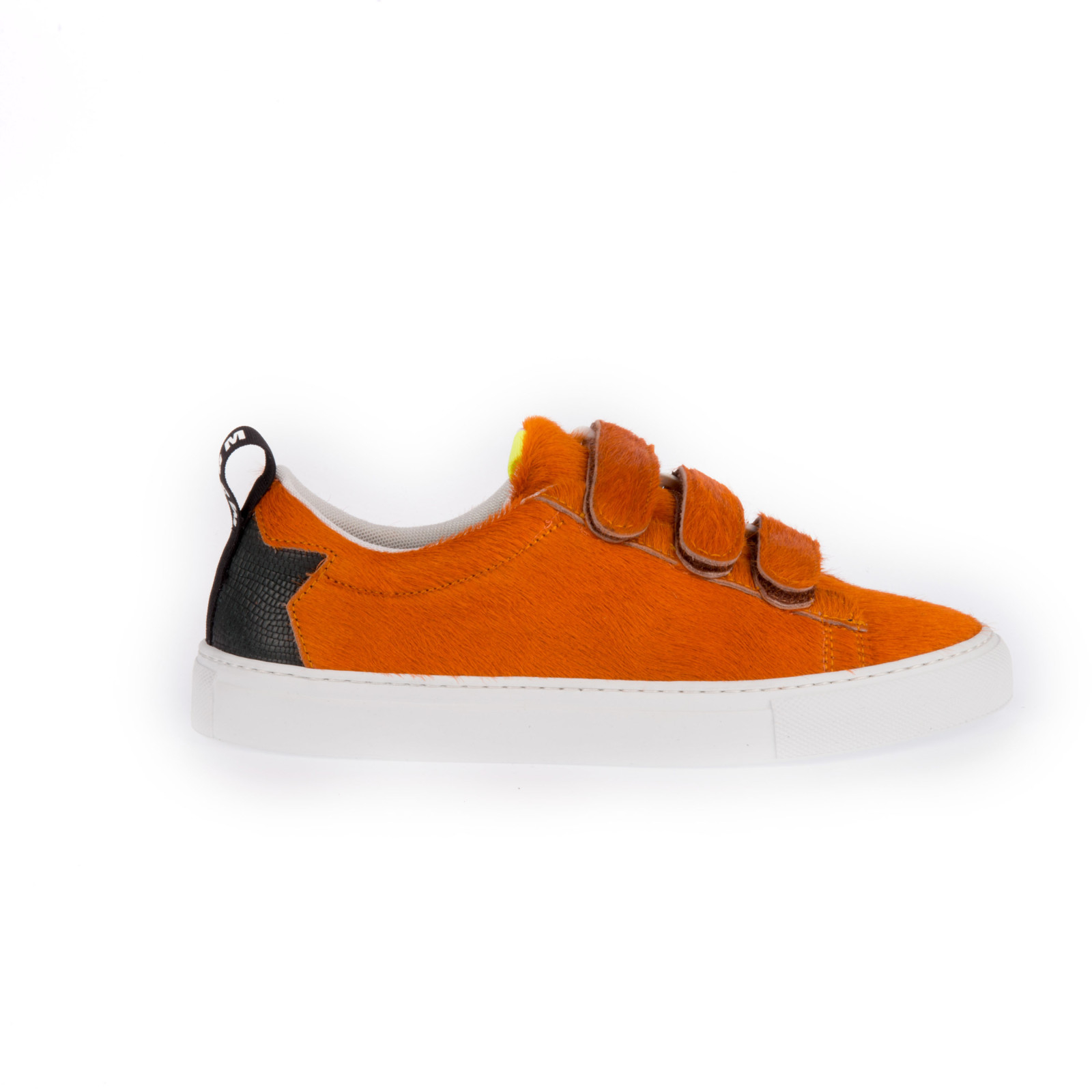 Msgm Leather Sneakers Covered By Orange Calf Fur In Orange