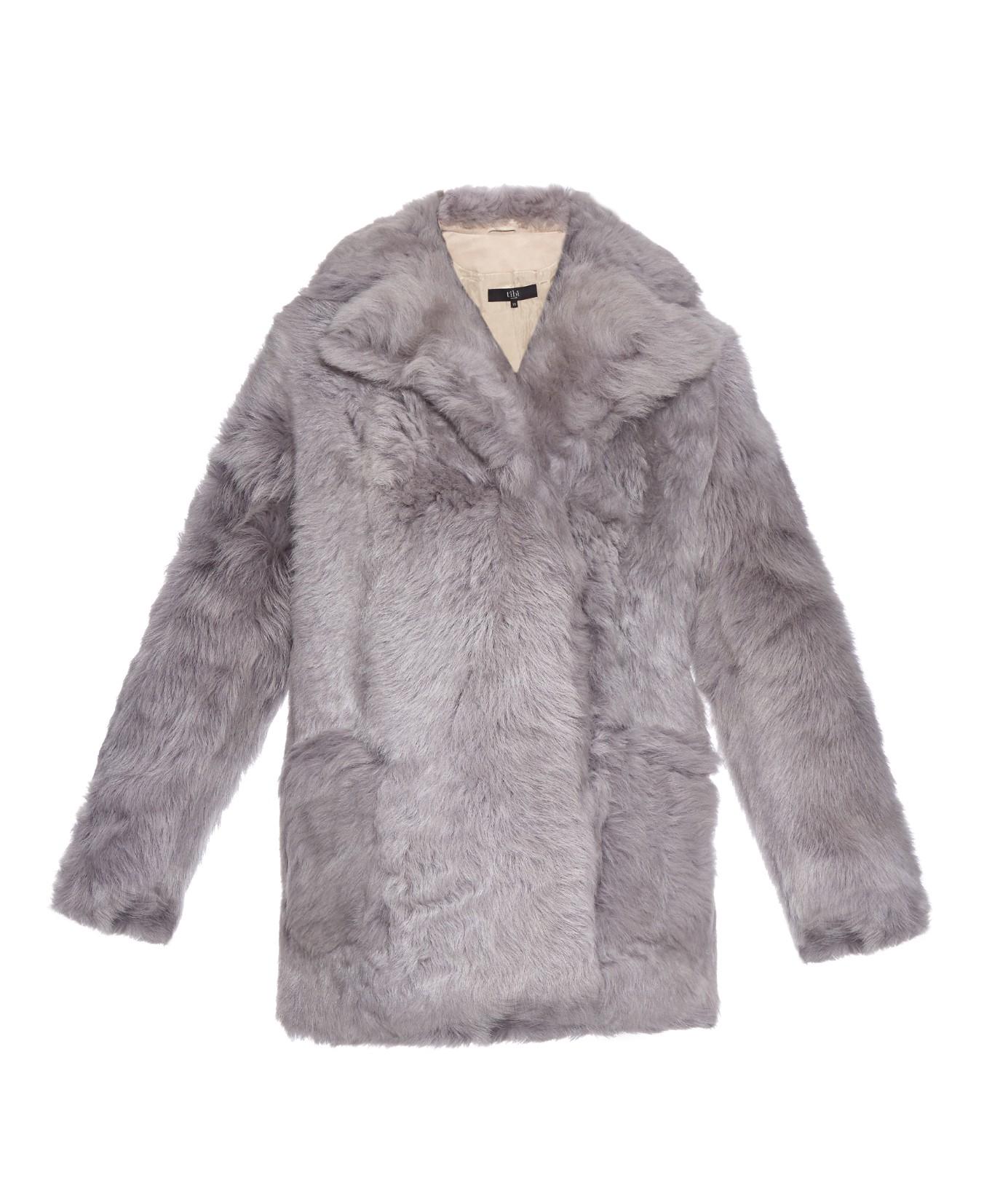Tibi Toscana Shearling Coat in Gray | Lyst