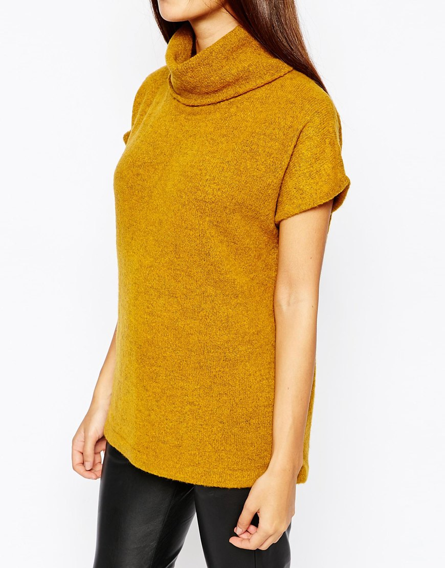 Warehouse Cowl Neck Boucle Jumper in Yellow | Lyst