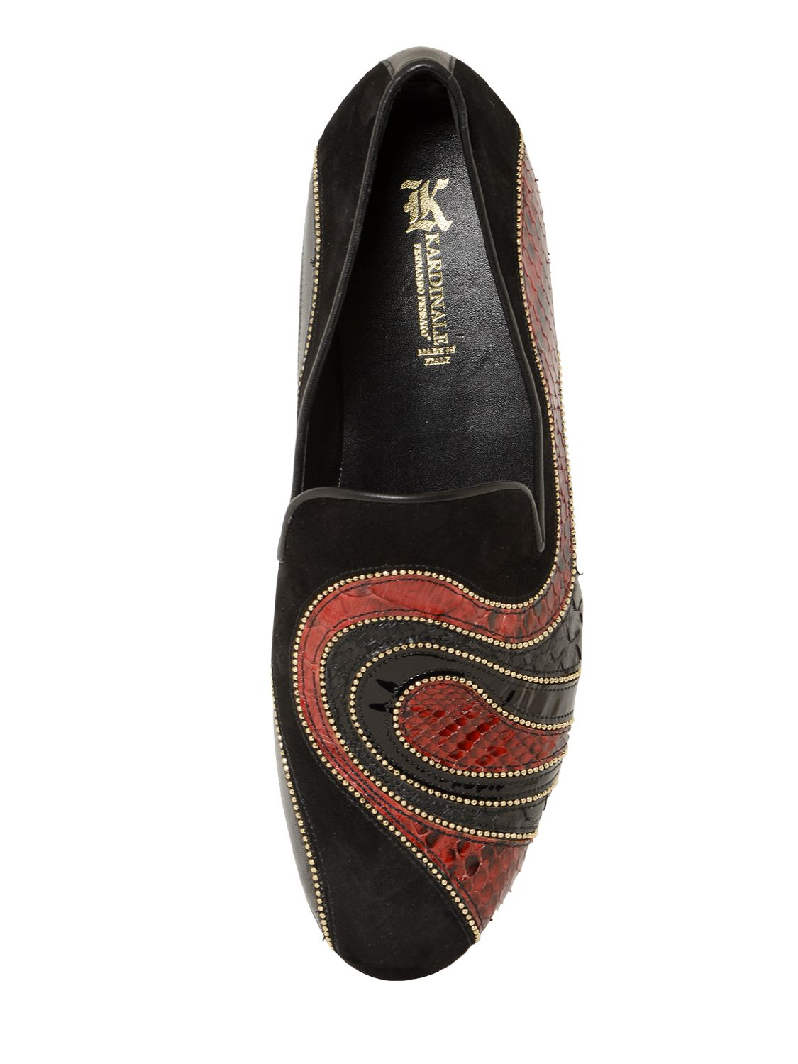 Lyst Kardinale Python Amp Suede Loafers With Chain Detail