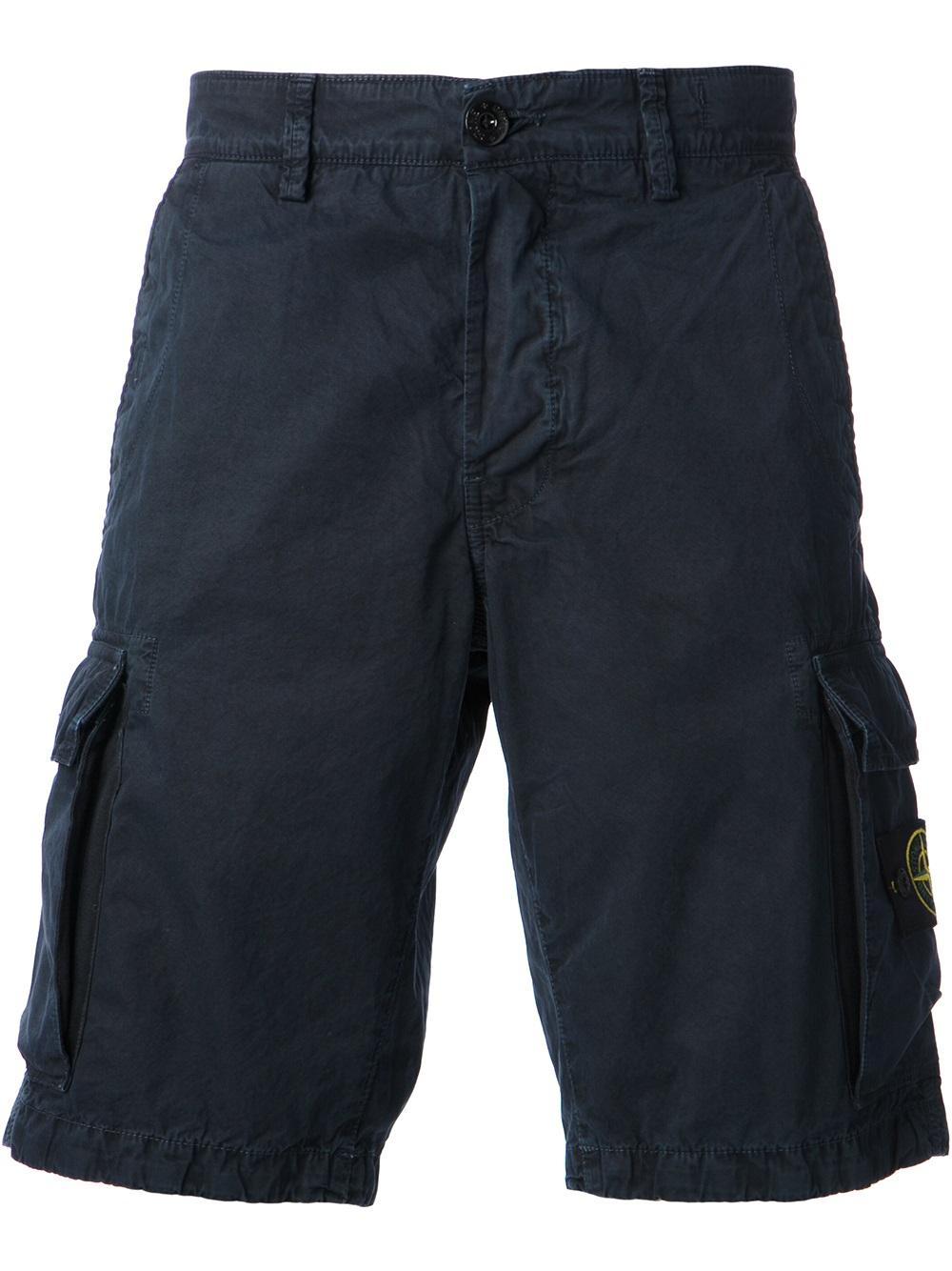 lyst stone island washed cargo shorts in blue for men. Black Bedroom Furniture Sets. Home Design Ideas