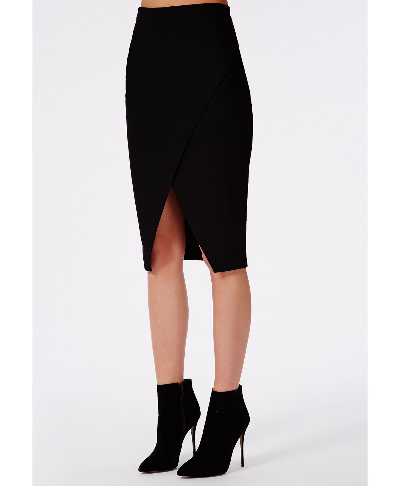 Missguided Wrap Front Midi Skirt Black in Black | Lyst