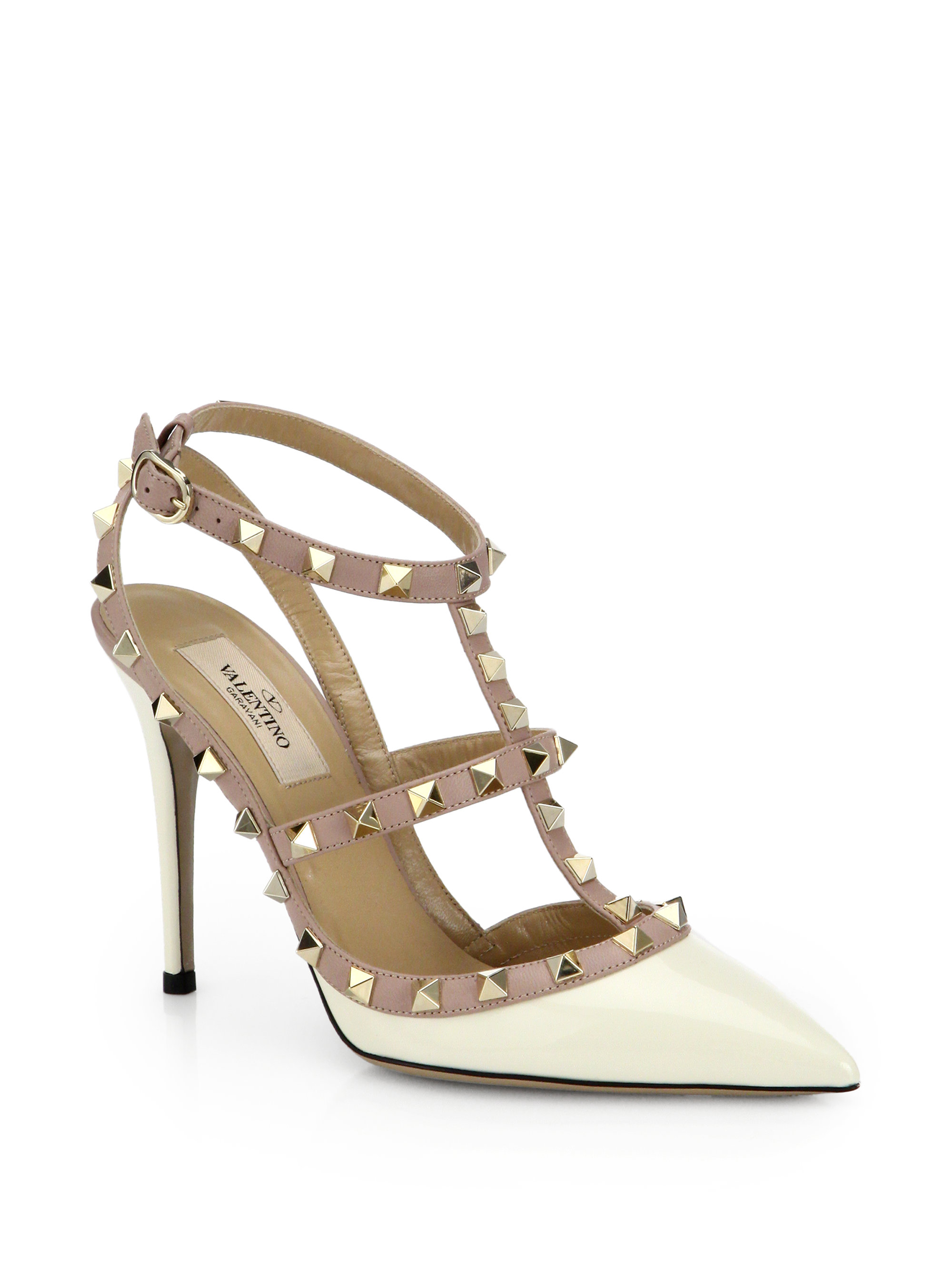 valentino patent leather rockstud pumps in white ivory lyst. Black Bedroom Furniture Sets. Home Design Ideas