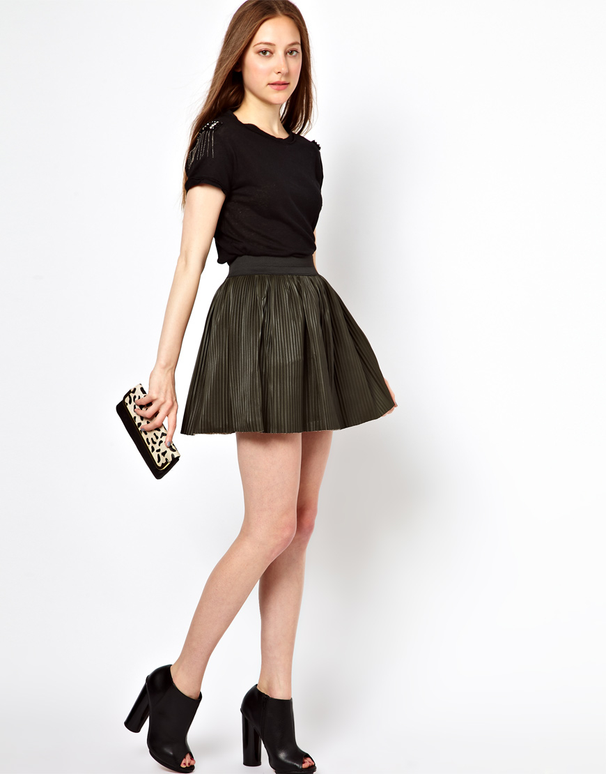 Oasis Pleated Faux Leather Mini Skirt in Green | Lyst