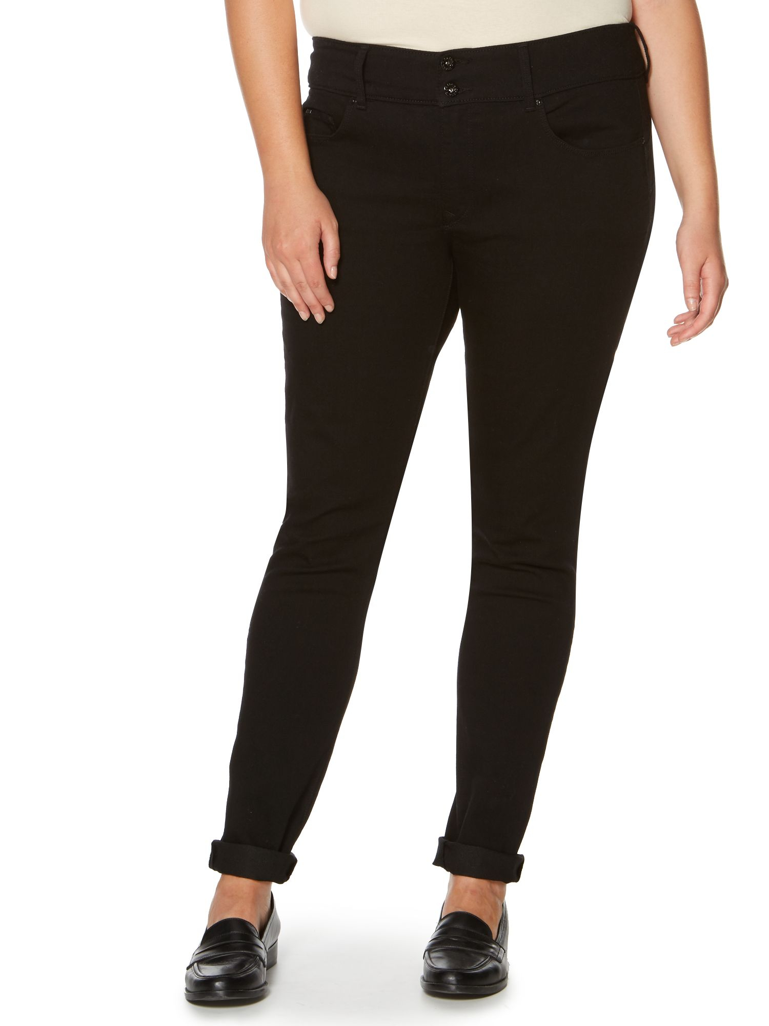 salsa plus size secret push in skinny leg jeans in black lyst. Black Bedroom Furniture Sets. Home Design Ideas