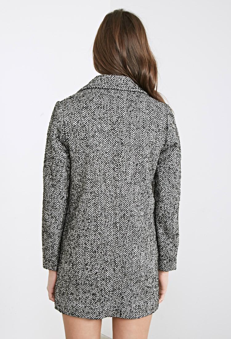 Lyst Forever 21 Wool Blend Herringbone Coat In Black