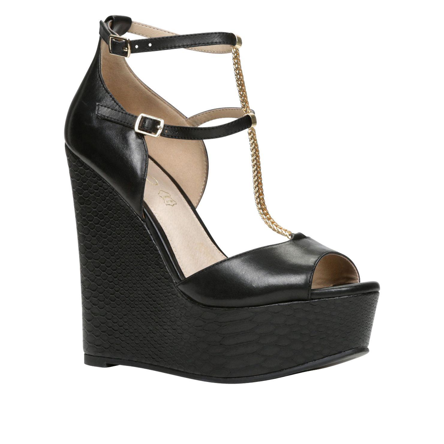 aldo chiesina peep toe wedge sandals in black