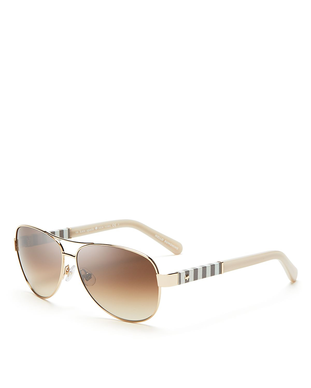 Kate Spade Polarized Aviator Sunglasses  kate spade new york dalia aviator sunglasses 58mm in metallic lyst