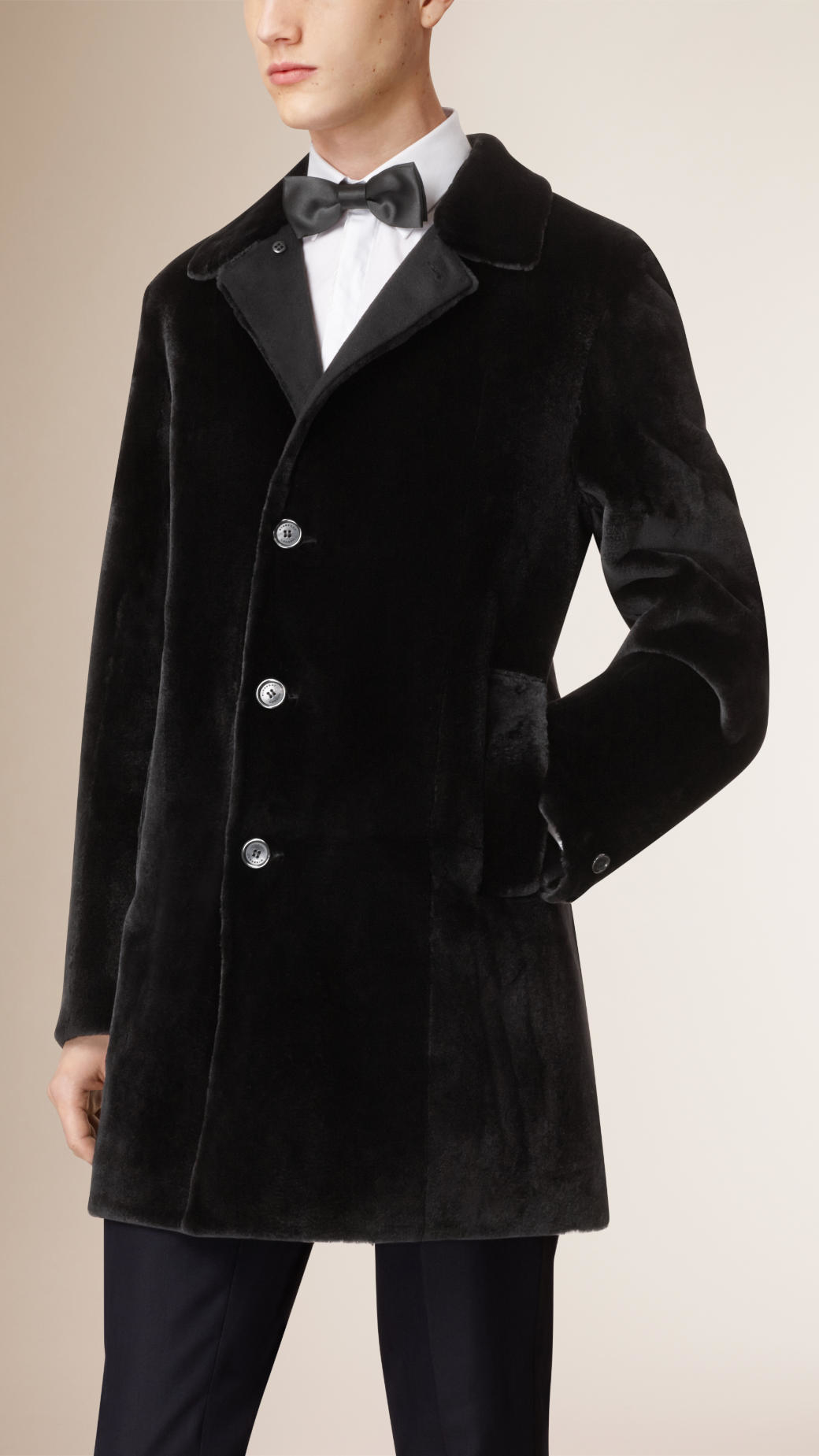 Burberry Mink Car Coat in Black for Men | Lyst