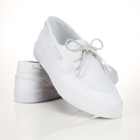 polo ralph sander boat shoe in white for lyst