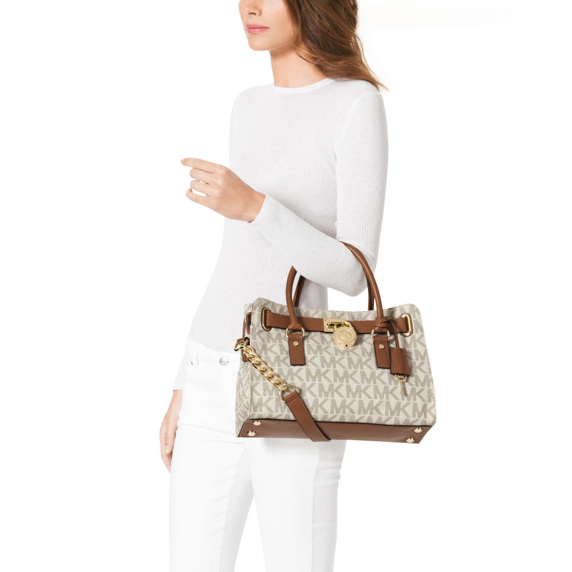 5c47d6ab8a3747 ... mk acorn mini crossbody. c8933 384be; cheap lyst michael kors hamilton  medium logo satchel in white 8de78 870ed
