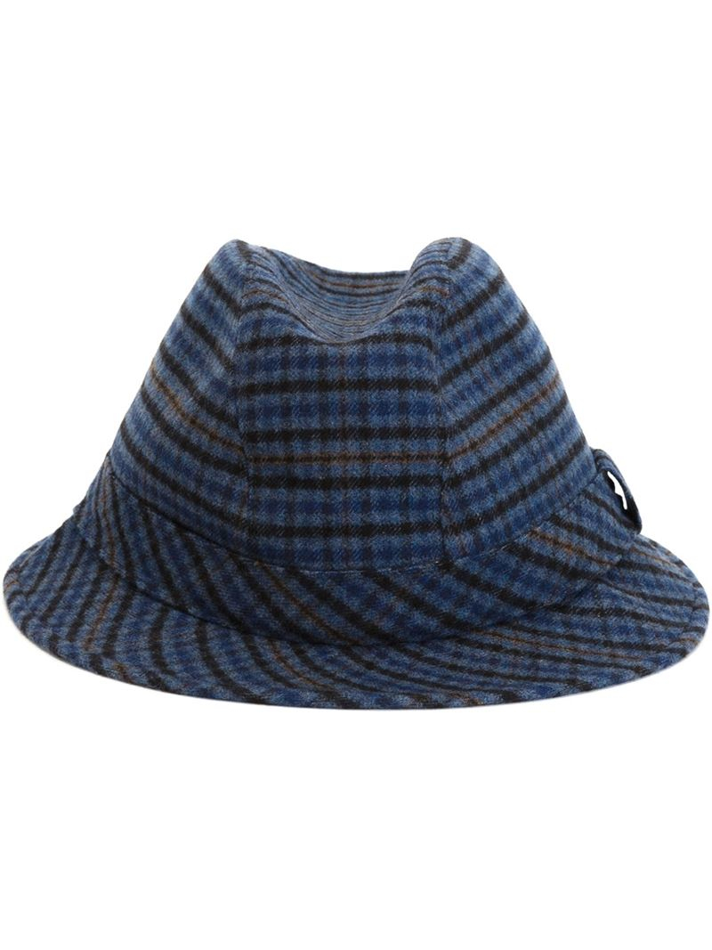 7001ae10bed Lyst - Kiton Tweed Trilby Hat in Blue for Men