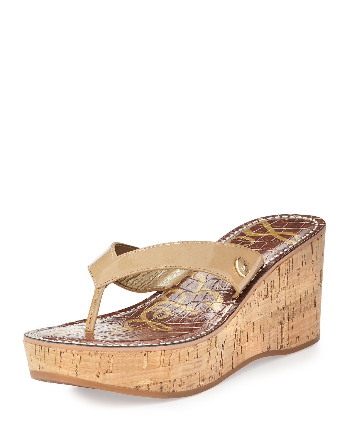 dc71cd11345 Lyst - Sam Edelman Romy Patent Leather Wedge Sandal in Natural