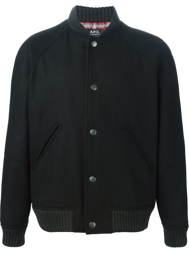 A.p.c. Button Down Bomber Jacket in Black for Men | Lyst