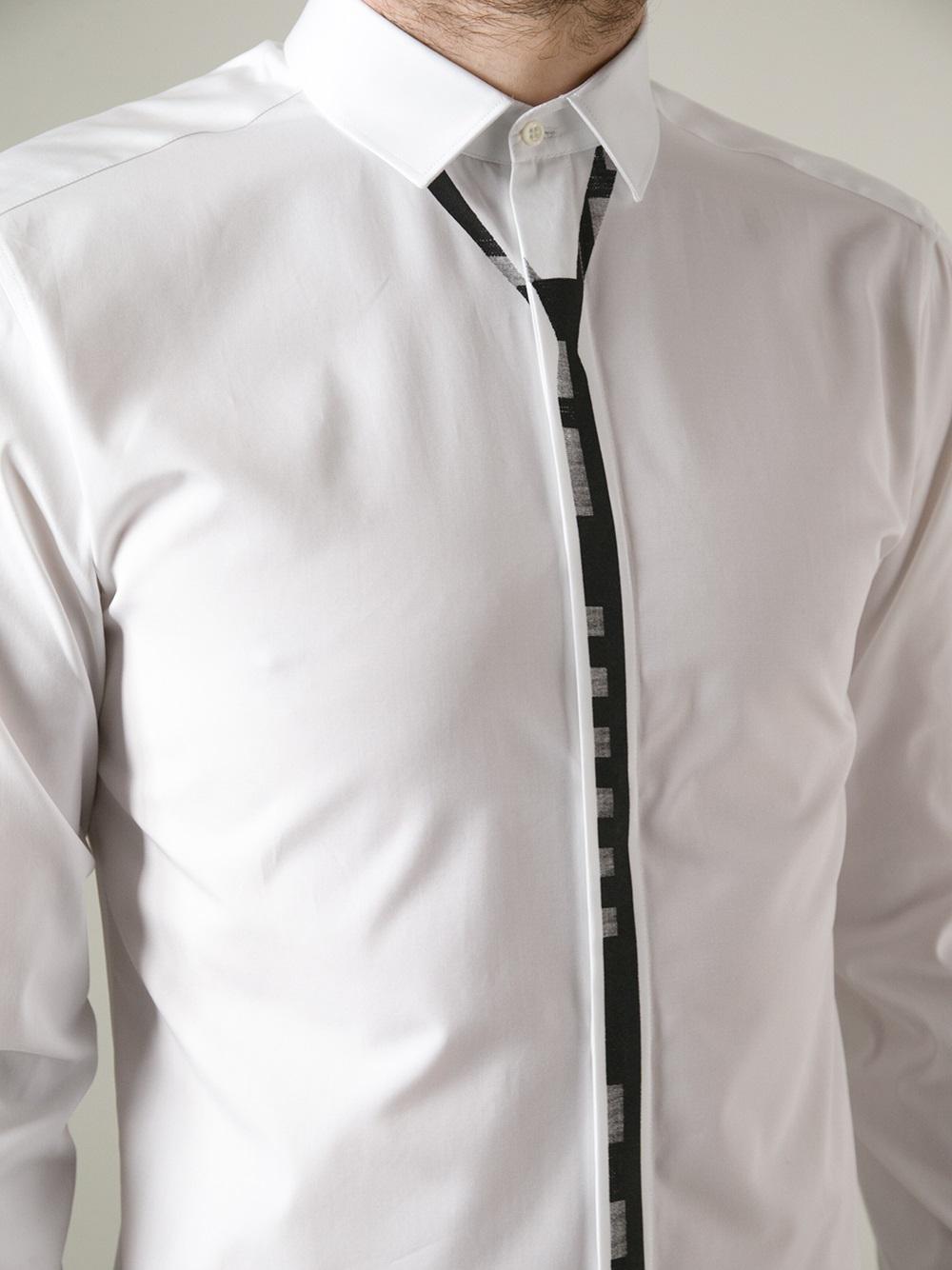 Neil barrett tie print shirt in white for men lyst for Neil barrett tuxedo shirt