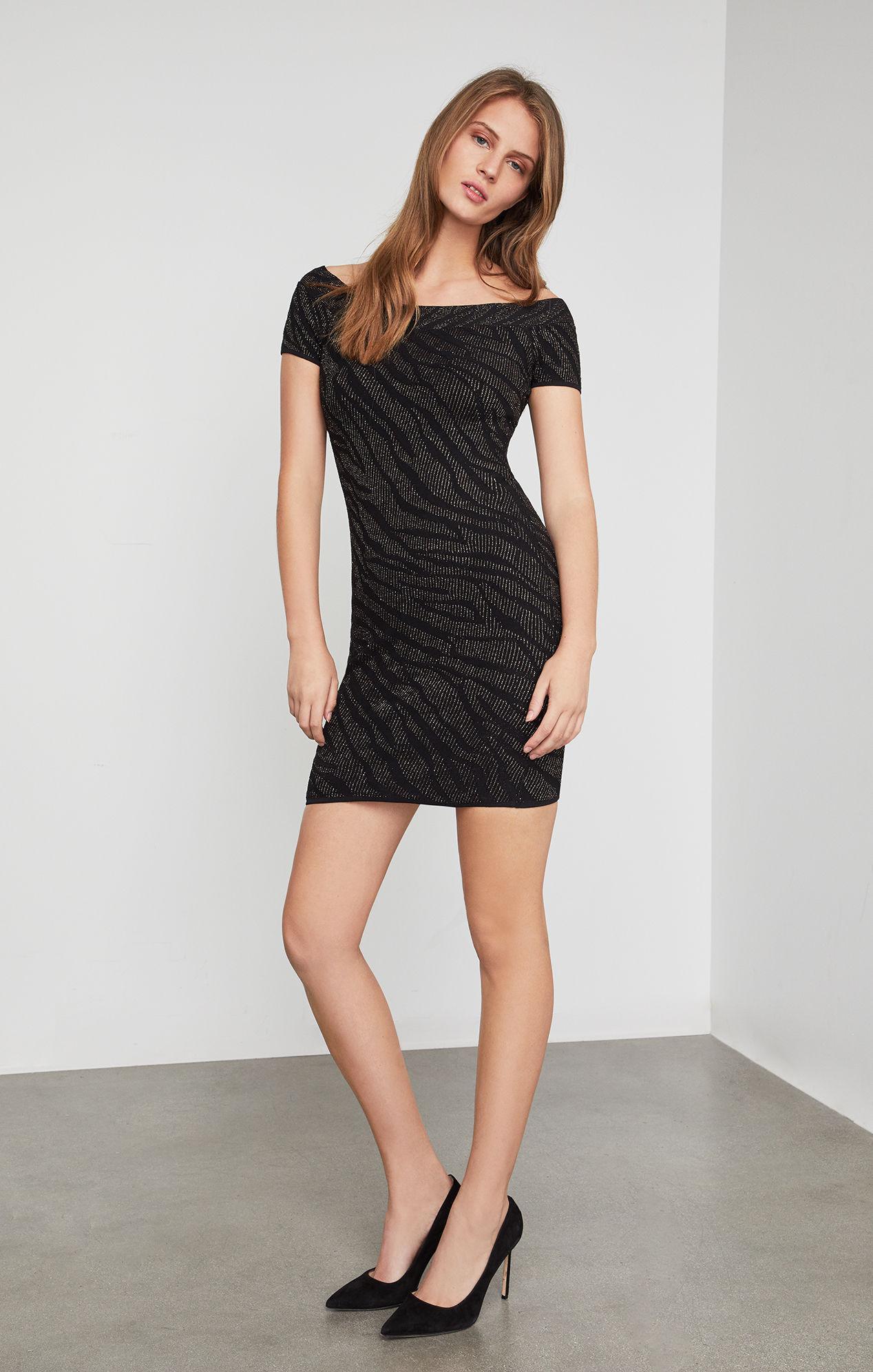c3bcf78550 Lyst - BCBGMAXAZRIA Bcbg Metallic Tiger Print Dress in Black