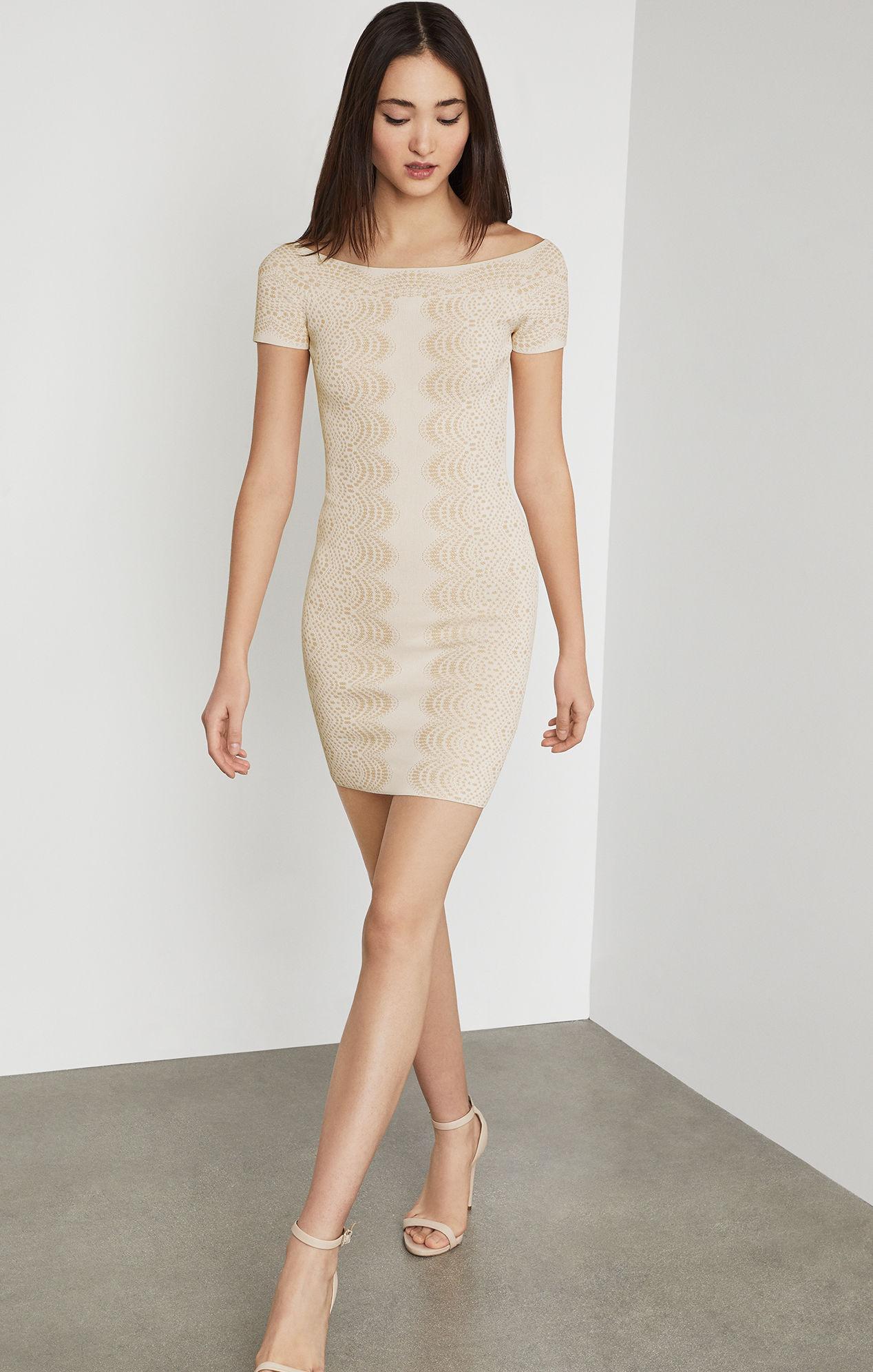 8421c479d57 BCBGMAXAZRIA Bcbg Kisha Off-the-shoulder Knit Dress in White - Lyst