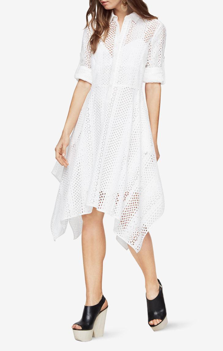 6a1a38651ec Lyst - BCBGMAXAZRIA Beatryce Eyelet Shirt Dress in White