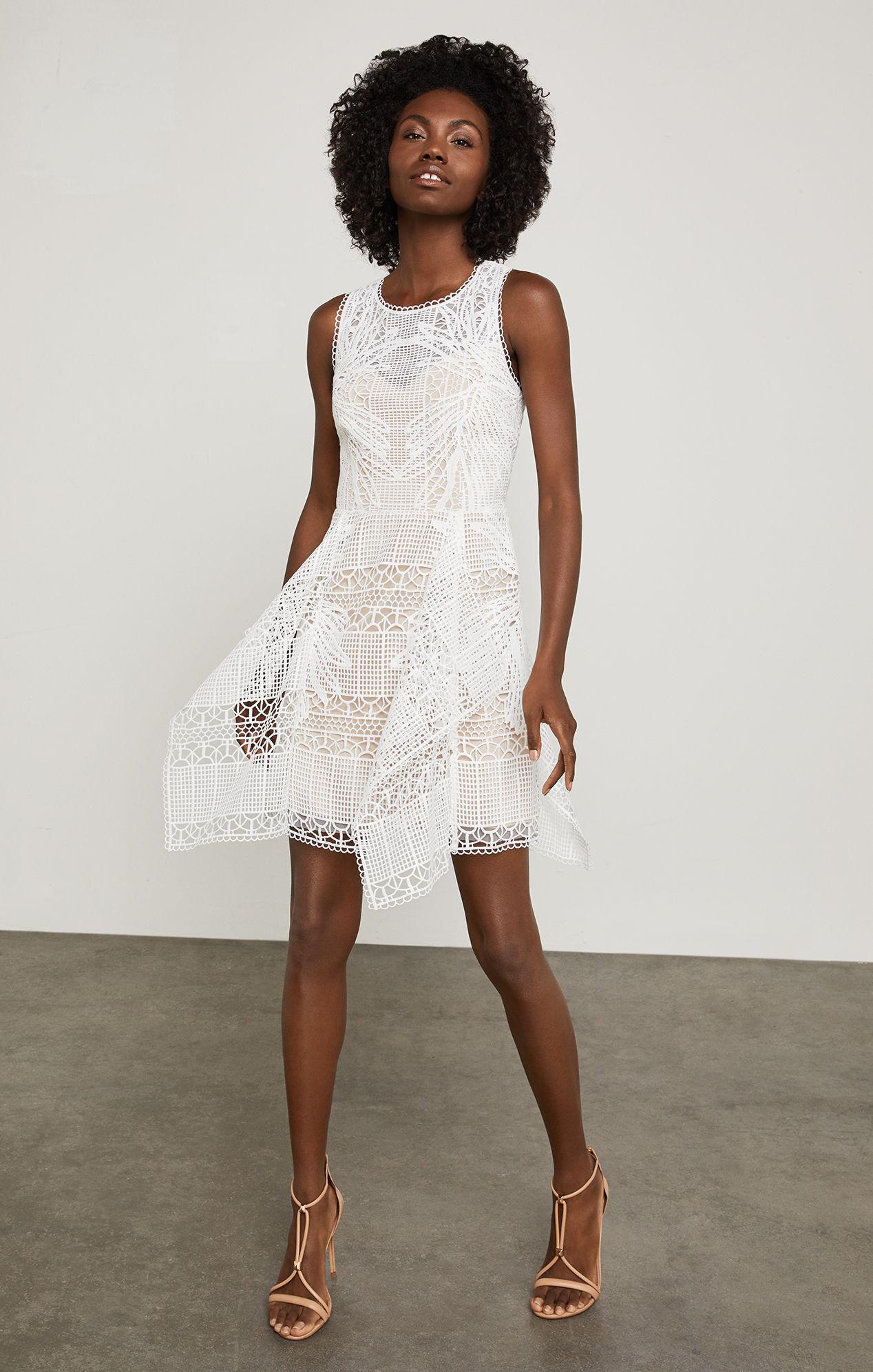 d0eacc4b38e106 Bcbgmaxazria Bcbg Sleeveless Abstract Lace Dress in White - Lyst