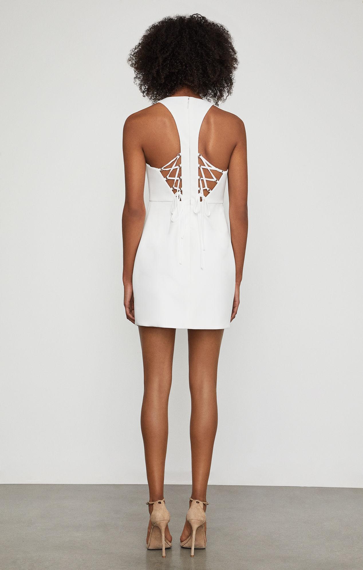 84cd98c38c08b BCBGMAXAZRIA Bcbg Ely Lace-up Halter Dress in White - Lyst