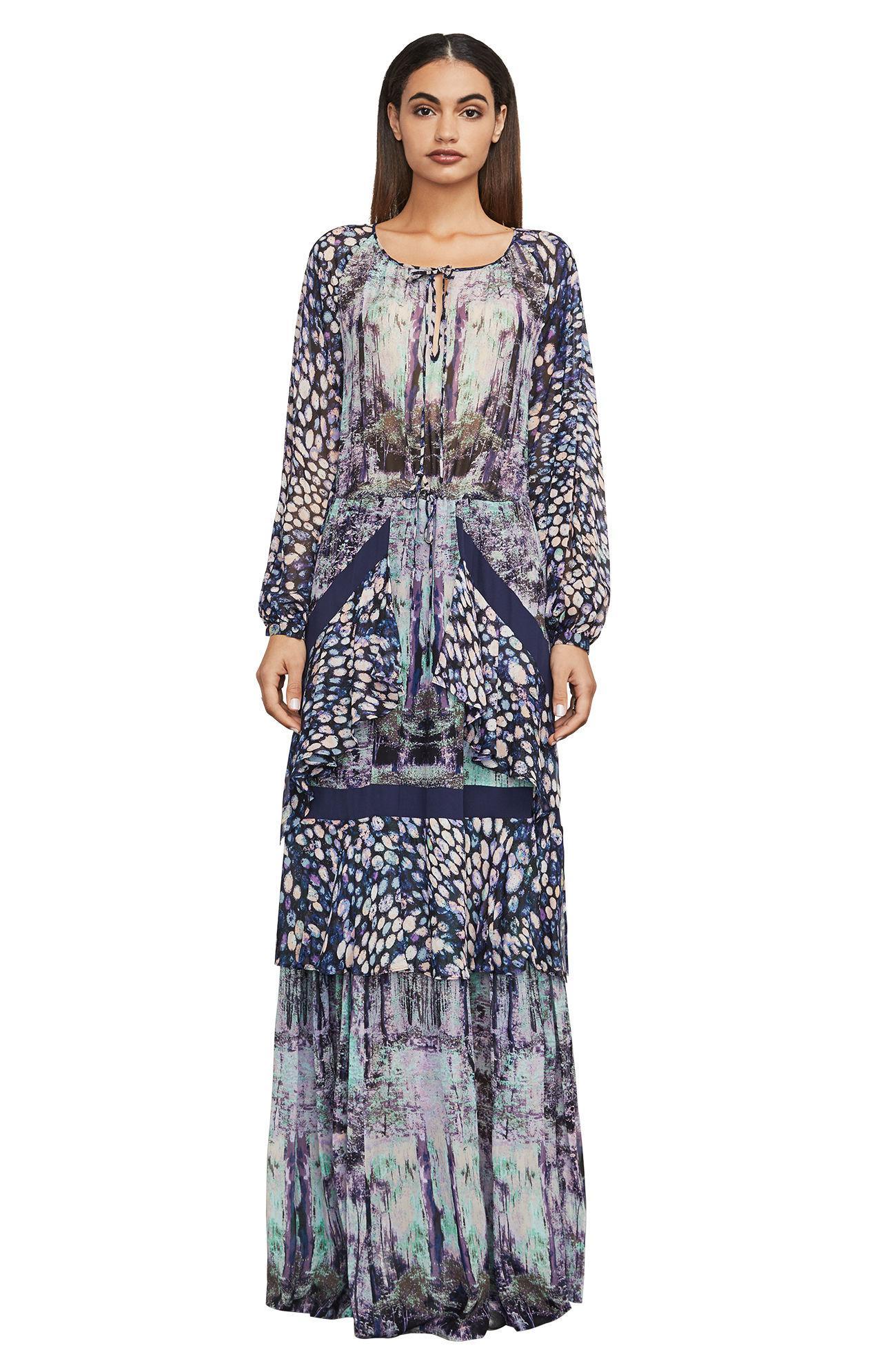 179a5b33158 Lyst - BCBGMAXAZRIA Bcbg Elisa Floral-print Maxi Dress in Blue