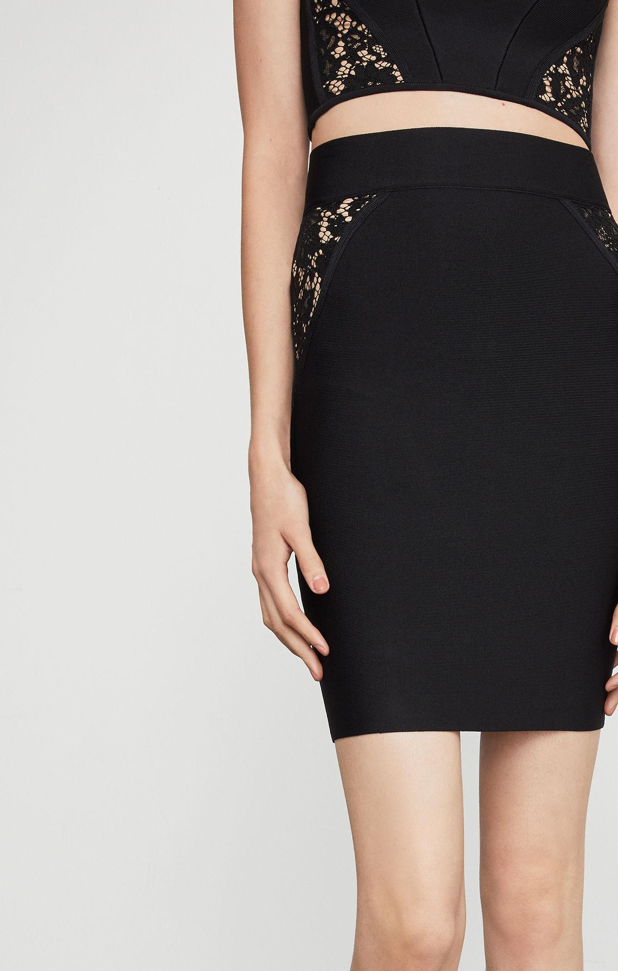 32866a65a0 BCBGMAXAZRIA - Black Bcbg Lace Inset Pencil Skirt - Lyst. View fullscreen