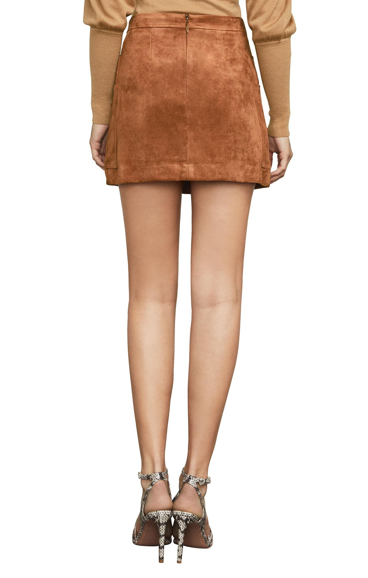 c1e8e2ee12 BCBGMAXAZRIA Bcbg Corinne Faux-suede Mini Skirt in Brown - Lyst